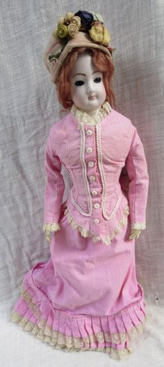 "17"" Porcelain Bisque Swivel Head French Fashion Repro Artist Doll Kid Body 