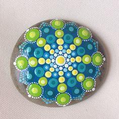 Blue Green Mandala Painted Stone  Adriatic by CreateAndCherish