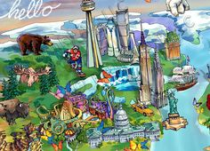 World Illustrated Map detail: USA and Canada by Maria Rabinky Map Of America States, Birds Eye View Map, Illustrated Maps, World Map Art, Cityscape Art, Map Design, State Map, Custom Map, City Maps