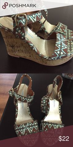 Wedge sandals Size 5 brown and teal wedge sandal. Worn once. In great condition Shoes Wedges