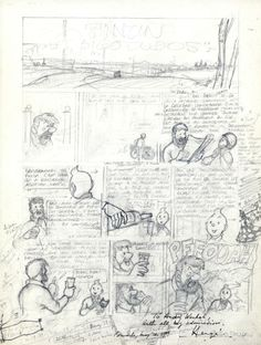 Herge's sketch of Tintin Comic Book Pages, Comic Books Art, Comic Art, Herge Tintin, Thumbnail Sketches, Comic Layout, Ligne Claire, Bd Comics, Comic Drawing