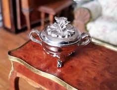 EUGENE KUPJACK DOLLHOUSE MINIATURES STERLING SILVER FOOTED DISH W/ BIRD FINIAL #EugeneKupjack