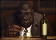 The Terminator an original oil painting by Richard Lithgow featuring a gorilla in a suit and a bottle of alcohol at a bar.