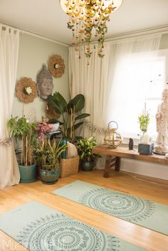 home zen yoga roomLOVE the light curtains bench under the window, cluster of plants, and mirrors on walls. No Buddha, though.Remove the flowers/butterflies and paint the walls grey. Love the yoga matsInterior: Yoga Room Decor New Studio Etsy Regarding 4 f Yoga Studio Design, Yoga Room Design, Yoga Studio Home, Yoga Studio Decor, Yoga Studio Interior, Home Yoga Room, Yoga Room Decor, Meditation Room Decor, Yoga Rooms
