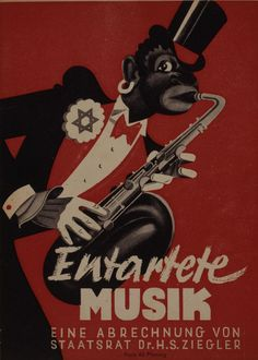 """Brochure accompanying the exhibition """"Degenerate Music"""", May 1938, Dusseldorf. The Nazi official Hans Severus Ziegler (1893-1978) organized the exhibition """"Degenerate Music"""" which was subsequently shown also in Weimar, Munich and Vienna. iL #Entartete_Musik"""