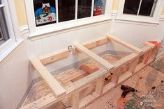 Bay window bench plans Step 1 Plan It Out Picture of Plan It Out jpg Since bay windows are not all created equal you ll need to measure the angles of the walls This makes a sufficiently strong wall and also creates a bit more storage space inside the Window Storage Bench, Bay Window Benches, Diy Bench Seat, Wall Bench, Storage Bench Seating, Lounge Seating, Bench With Storage, Diy Storage, Wall Seating