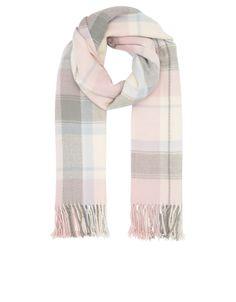 This oversized blanket scarf is designed with a pastel check pattern and tasseled trims. Sumptuously soft and cozy to the touch, this pretty style will keep you warm and toasty on the chilliest days.
