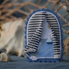 Купить Окно с видом на море. Брошь текстильная - море, небо, небесно-голубой, романтика, голубой
