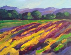Cuttingswarf Vineyard ©Loralee Chapleau 14x18  Abstract impressionist Vineyard Painting
