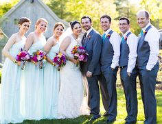 Rainbow Striped Wedding - couple, groomsmen, and bridesmaids. so pretty!