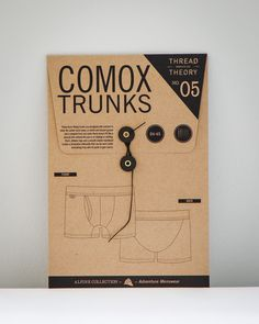Comox Trunks Boxer Briefs Pattern No. 05 by Thread Theory These form-fitting trunks are designed with comfort in mind. No center back seam, a reinforce. Pdf Patterns, Clothing Patterns, Men's Clothing, Underwear Packaging, Dress Making Patterns, Pattern Drafting, Unisex, Design Reference, Retro