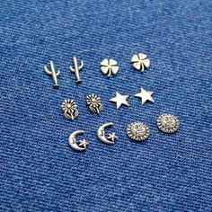 Flower and Celestial Studs in Sterling Silver, Sun, Moon with Stars, Stars, Daisies, Clovers, & Cactus, Silver Stud Earrings, Gift for Her #SilverSunStuds #SilverMoonStuds #925 #SilverStarStuds #EverydayEarrings #cute #minimalist #petite #studs #FourLeafClovers
