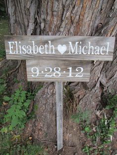 Rustic wedding sign  Bride (heart) Groom    made from reclaimed wood. $45.00, via Etsy.