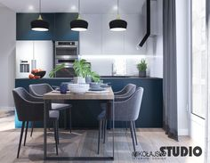 MORSKA KUCHNIA #turquoise #kitchen #contemporary #interior #design