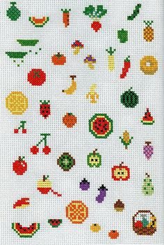 use embroidery fruit patterns to make perler bead Fruit of the Spirit magnets, keychains, etc.