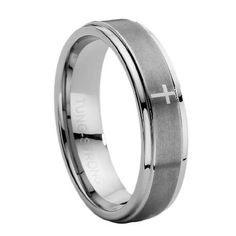 [Men's] Comfort-fit Tungsten Carbide Wedding Ring with Lasered Cross