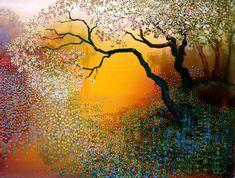 Ton Dubbeldam Guache, Landscape Paintings, Landscape Art, Dutch Artists, Dutch Painters, Diy Wall Art, Tree Art, Art Images, Pastel