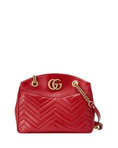 GG Marmont 2.0 Medium Quilted Shoulder Bag, Red