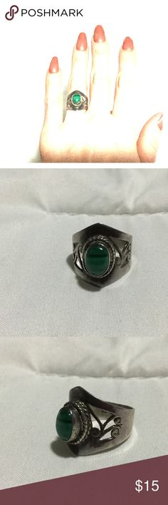 Silver size 5.75 ring with green rock. Silver ring 925 with green stone size 5.75 Jewelry Rings