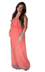 cb002418750 R. Rouge Women s Coral Floral Print Strapless Maxi Dress