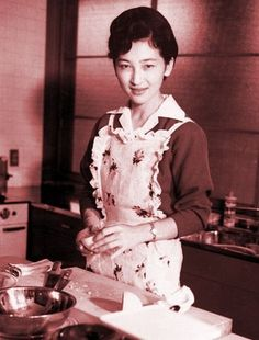 Crown Princess Michiko in the kitchen on October 6, 1961