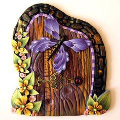 Fairy Door Pixie Portal Kids Room Decor with Purple by Claybykim, $20.00