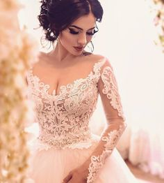 Custom Long Sleeve Wedding Gowns You Can Afford - This pretty open neckline wedding gown can be recreated for you. The sheer long sleeves and v-neck - Princess Wedding Dresses, Dream Wedding Dresses, Bridal Dresses, Couture Dresses, Dresses Dresses, Wedding Gowns With Sleeves, Long Sleeve Wedding, Braut Make-up, Wedding Pics