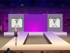 aluminu fashion show catwalk stage with backdrop