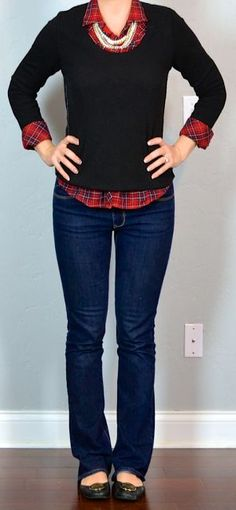 outfit post: red plaid shirt, black sweater, bootcut jeans, black flats
