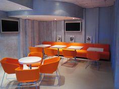 banquette et fauteuils tissus orange