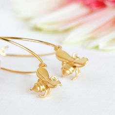 Bee Earrings, Honey Bee Gold Hoop Earrings, Tiny Matte Gold Honey Bee Charms, Summer Fashion, Gift For Mom, Spring Fashion, Mothers Day Gift...