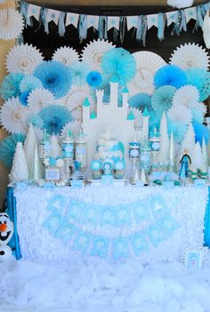 FROZEN Party  Fabric Banner  Frozen Birthday Party  by PSLetsParty, $30.00