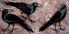 Kerala Crows, Lino Print- Teresa Winchester