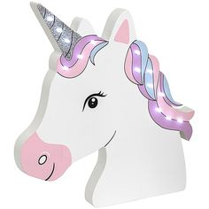 Magical LED Unicorn Head, This absolutely beautiful unicorn head shaped wall sign makes the perfect gift for those little one's who are Unicorn Birthday Meme, Unicorn Birthday Decorations, Unicorn Birthday Invitations, Birthday Games, Unicorn Birthday Parties, Birthday Quotes, Birthday Shirts, Carton Invitation, Beautiful Unicorn