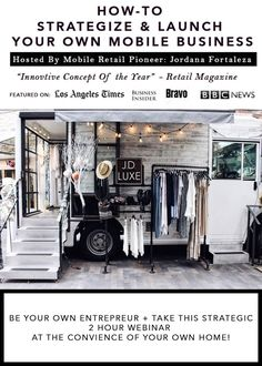 Lets face it, the old fashion Brick and Mortar concept was yesterdays news and sadly its over saturated. Not only is rent super high, your tied down to . Airstream, Caravan Shop, Mobile Beauty Salon, Mobile Fashion Truck, Mobile Spa, Pop Up Market, Mobile Business, Mobile Boutique, Truck Design