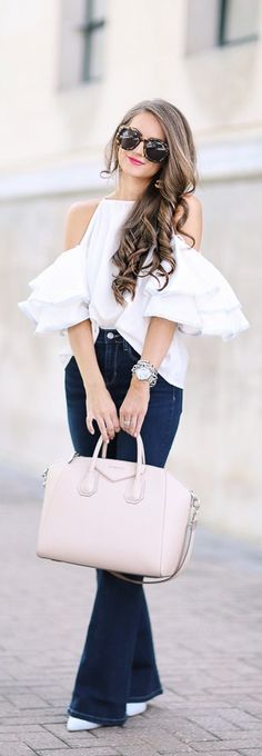 Cold Shoulder Ruffle Top // Fashion Trend by Southern Curls And Pearls