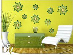 Virágos falmatrica szett 990 Ft-tól #öntapadós #dekoráció #faldekoráció #baja #zöld #faldesign #ötletek #otthon #nappali