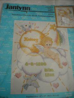 Janlynn Angel Cherubs Birth  Announcement Counted Cross Stitch Kit T Steinmeyer #Janylynn #BirthAnnouncement