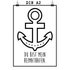 Poster DIN A2 Anker aus Papier 160 Gramm  weiß - Das Original von Mr. & Mrs. Panda.  Jedes wunderschöne Poster aus dem Hause Mr. & Mrs. Panda ist mit Liebe handgezeichnet und entworfen. Wir liefern es sicher und schnell im Format DIN A2 zu dir nach Hause.    Über unser Motiv Anker  Unser Anker ist als Summer-Must-Have aus verschiedenen Zeitschriften und Blogs bekannt. Der Anker ist das Attribut des Meeresgottes Neptun und wird oft mit Schiffahrt und dem Meer in Verbindung gebracht. Der Anker…