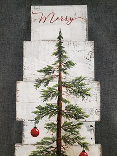 """This unique piece is 36"""" x apprx. 12"""" This Christmas tree with red bulbs on a white-washed background is perfect for a personalized farmhouse touch to your Christmas decorating. Perfect for that skinny wall space or just lean it against the wall. ***Can now be ordered with different colored bulbs!!******* (Just leave Christmas Tree With Snow, Christmas Wood Crafts, Christmas Tree Painting, Christmas Signs Wood, Primitive Christmas, Christmas Art, Christmas Projects, Christmas Decorations, Christmas Ornaments"""