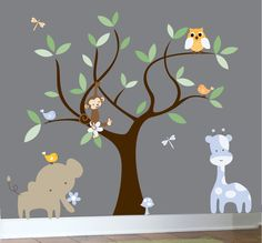 Children's jungle decal set tree wall decal animals. $129.00, via Etsy.