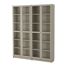 """IKEA - BILLY / OXBERG, Bookcase, beige, 63x79 1/2x11 """", , Adjustable shelves can be arranged according to your needs.Adjustable hinges allow you to adjust the door horizontally and vertically.Glass-door cabinet keeps your favorite items free from dust but still visible.Panel/glass doors provide dust-free storage and let you hide or display things according to your needs."""