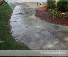 How to Build a Sidewalk with Flagstones Farm Fresh Vintage Finds