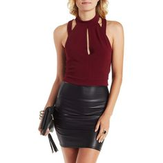 Charlotte Russe Oxblood Caged-Back Halter Crop Top by Charlotte Russe... ($19) ❤ liked on Polyvore featuring tops, oxblood, crop top, halter neck crop top, red crop top, knit tops and keyhole top