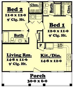 900 Sq. Ft. House Plan [Hunters Ridge (09-003-315)] from Planhouse - Home Plans, House Plans, Floor Plans, Design Plans