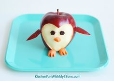 Penguin Apple Fruit Snack...a fun food idea from KitchenFunWithMy3Sons.com