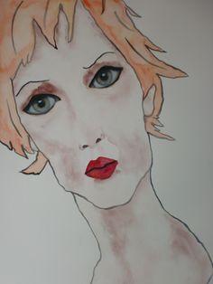 Portrait Betty, 50x70cm aquarel/watercolor by Tanja kooymans