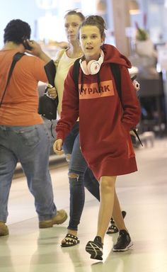 Next stop, Sydney! Stranger Things actress Millie Bobby Brown sports an oversized hoodie a...