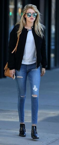 nail accessories, boots, leggings, shoes, denim, jacket, jeans, gigi hadid, ankle boots