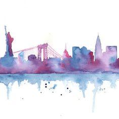 Original Watercolor Painting - New York City Skyline Silhouette